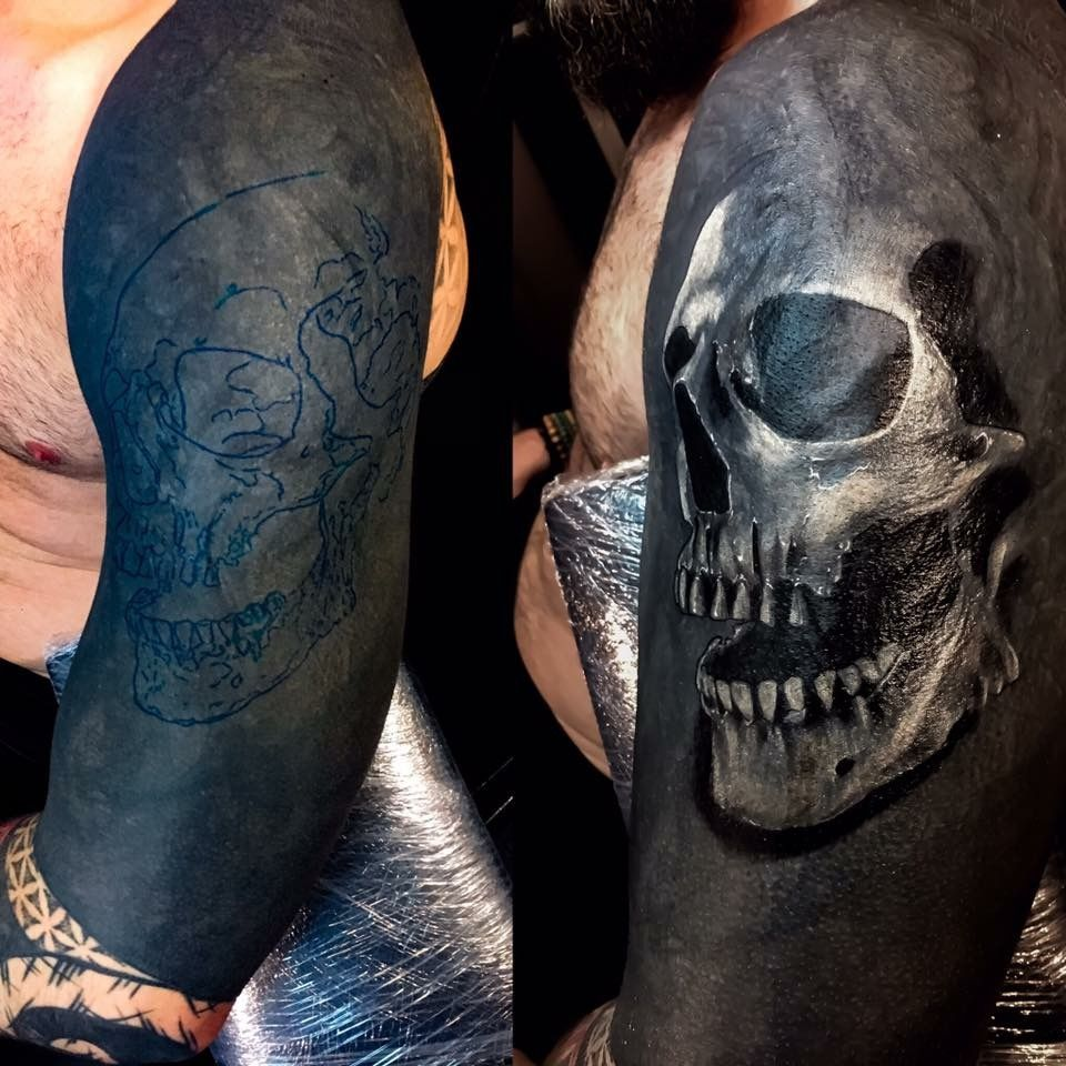 Blackwork Cover Up With White Ink Black Tattoo Cover Up Black Ink Tattoos Black Skull Tattoo
