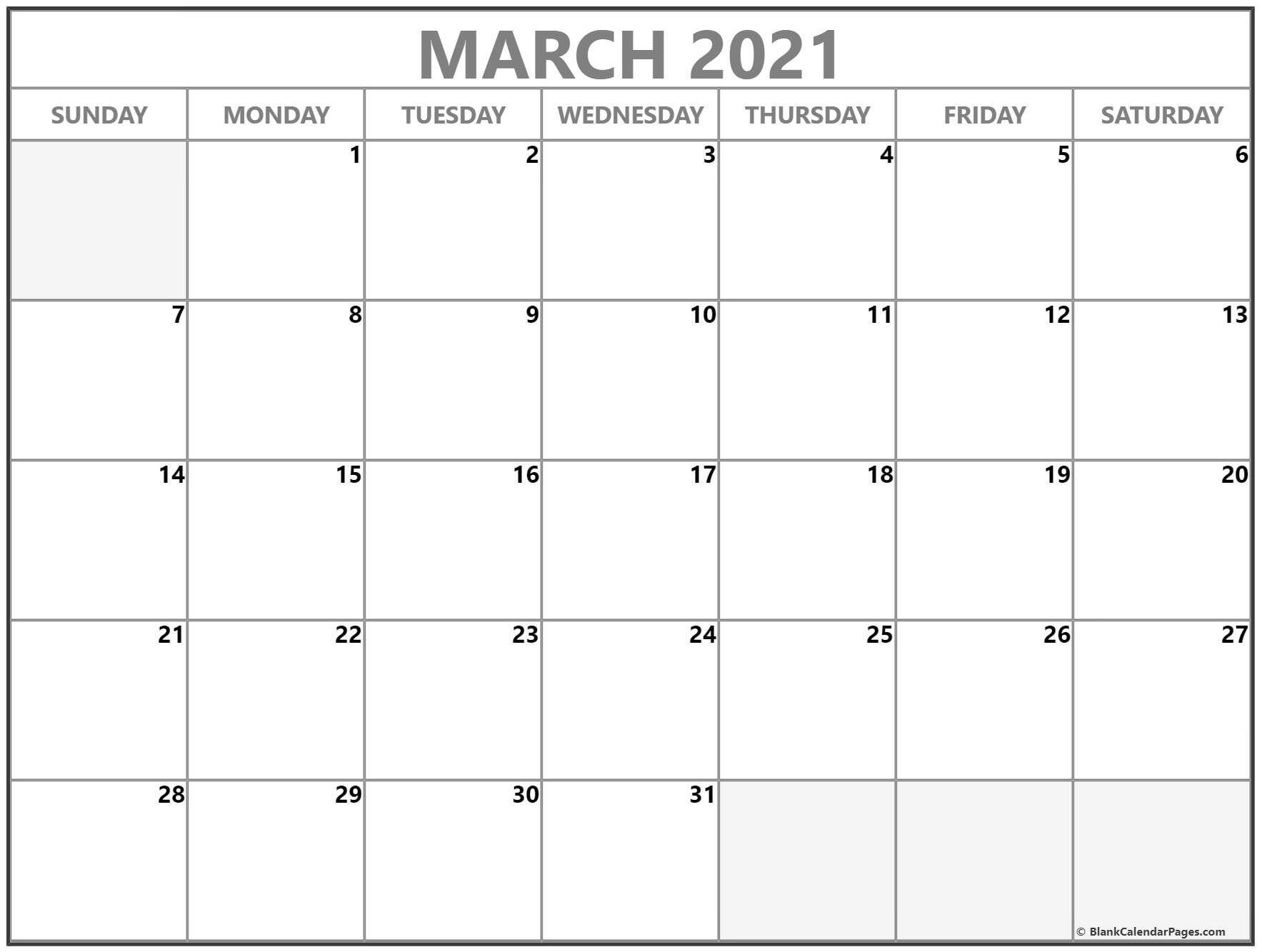 Blank Calendar 2021 March Di 2020