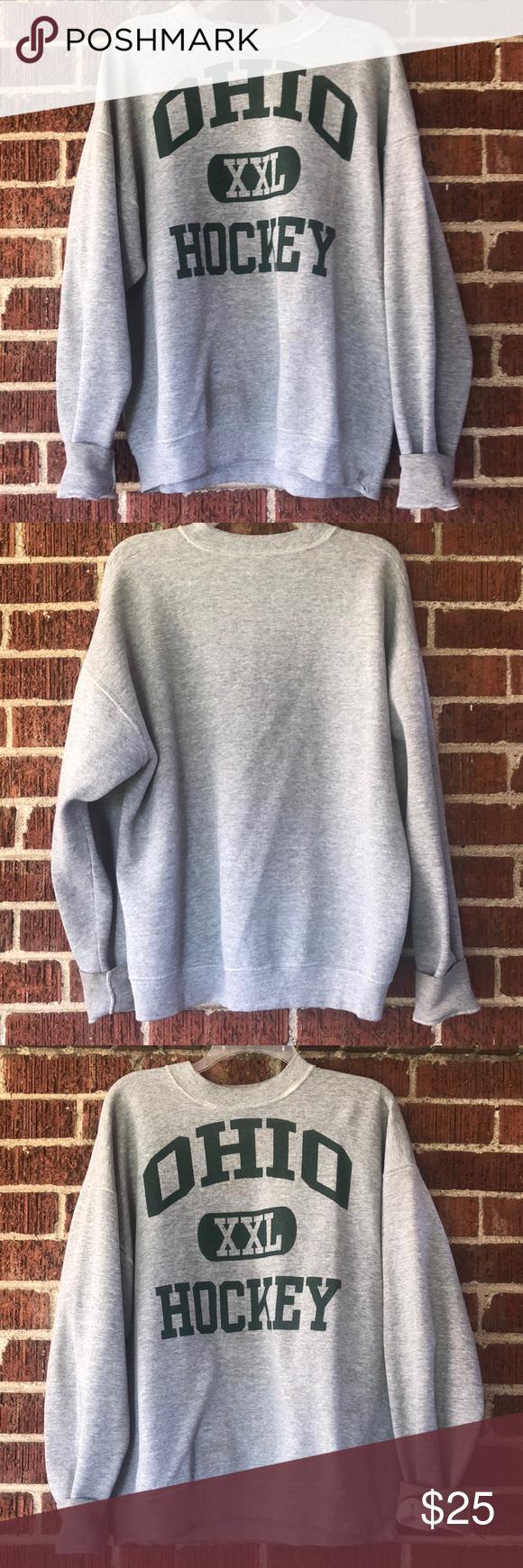 Vintage Ohio University Hockey Crew Sweatshirt Sweatshirts Crew Sweatshirts Vintage Sweatshirt [ 1740 x 580 Pixel ]