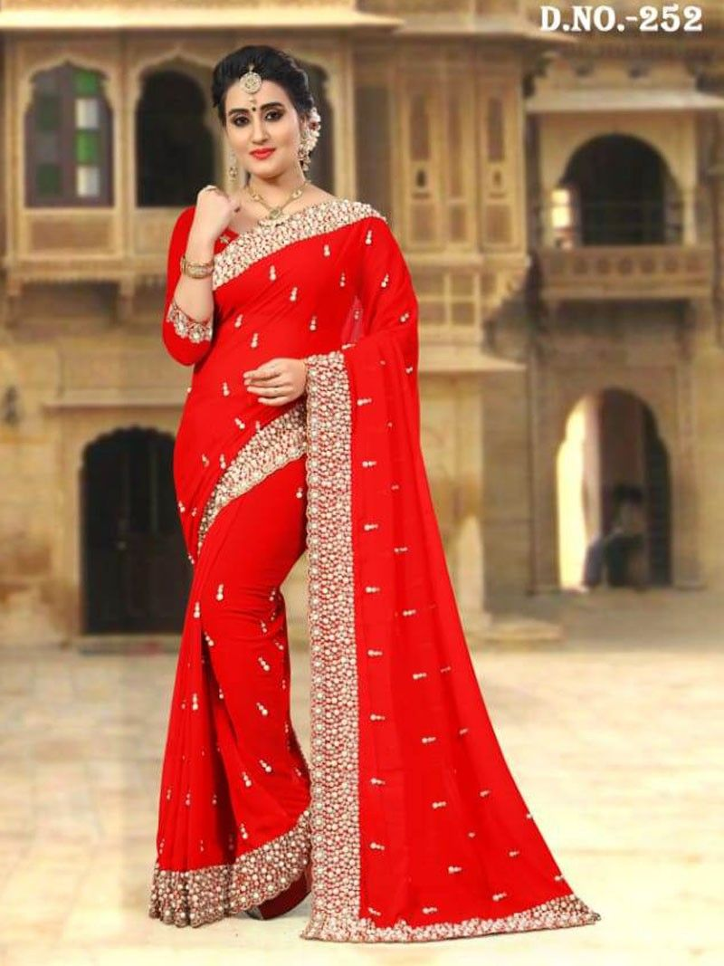 11f69dba3a New Designer Indian Party Wear Red color Heavy Pearl Border Saree with  Blouse