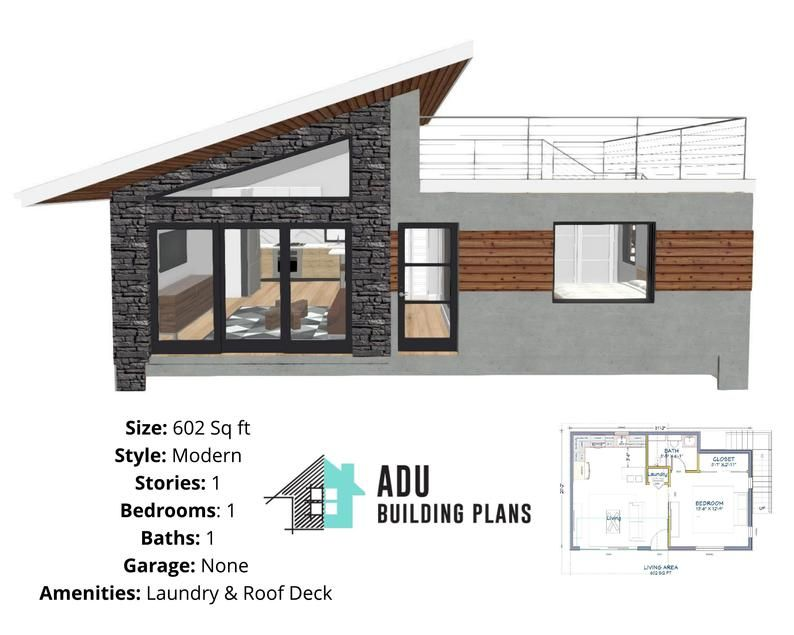 602 Square Foot 1 Bed 1 Bath With Roof Deck House Design Etsy In 2020 House Roof Design Small House Design Plans House Construction Plan