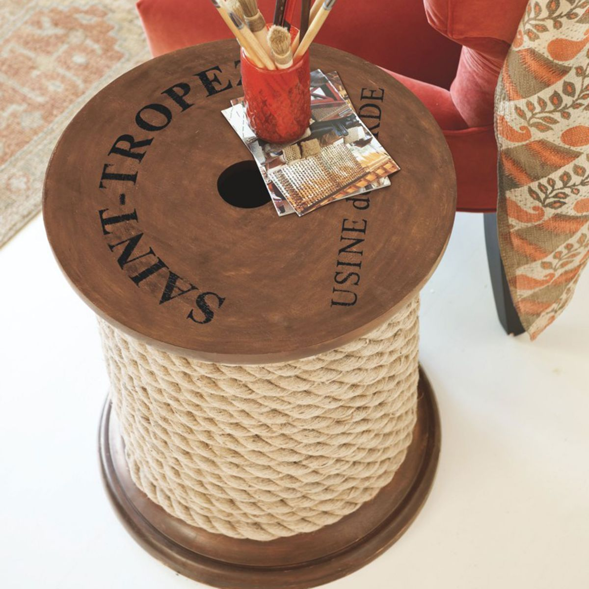 Spool Side Table - add rope detail to an old spool