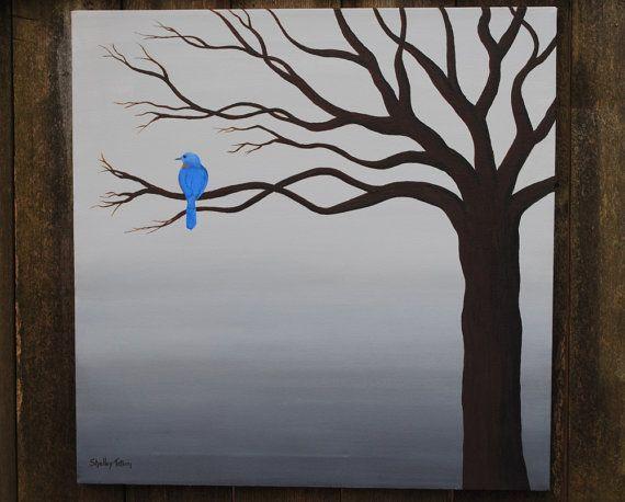 Blue Canvas Art Diy: Blue Bird Original Acrylic Canvas By SugarCreekArt On Etsy