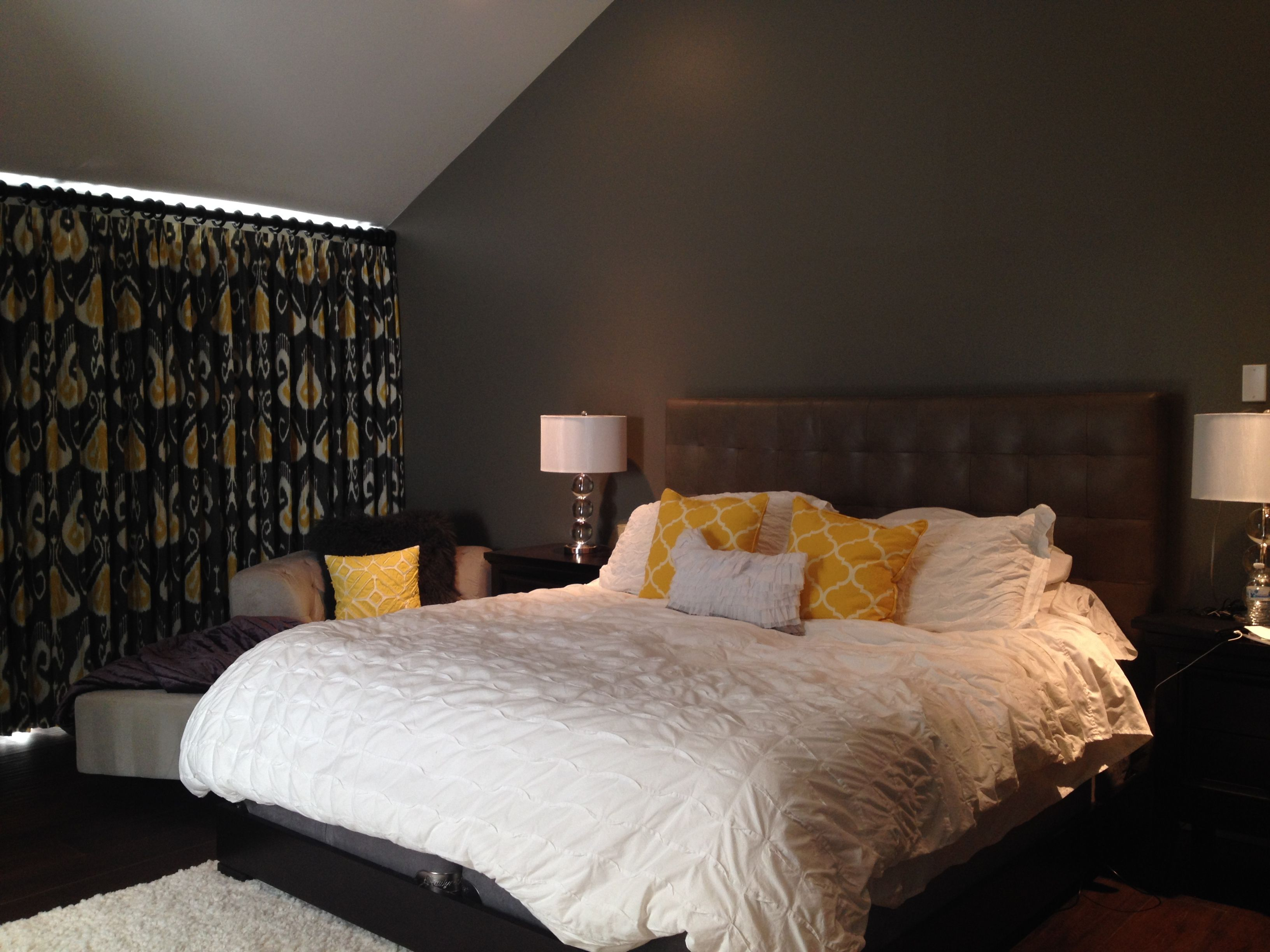 Our Mill Creek client picked out a room darkening floor to ceiling draperies for the master bedroom. How fun are their colors and style! #happyclient #budgetblinds