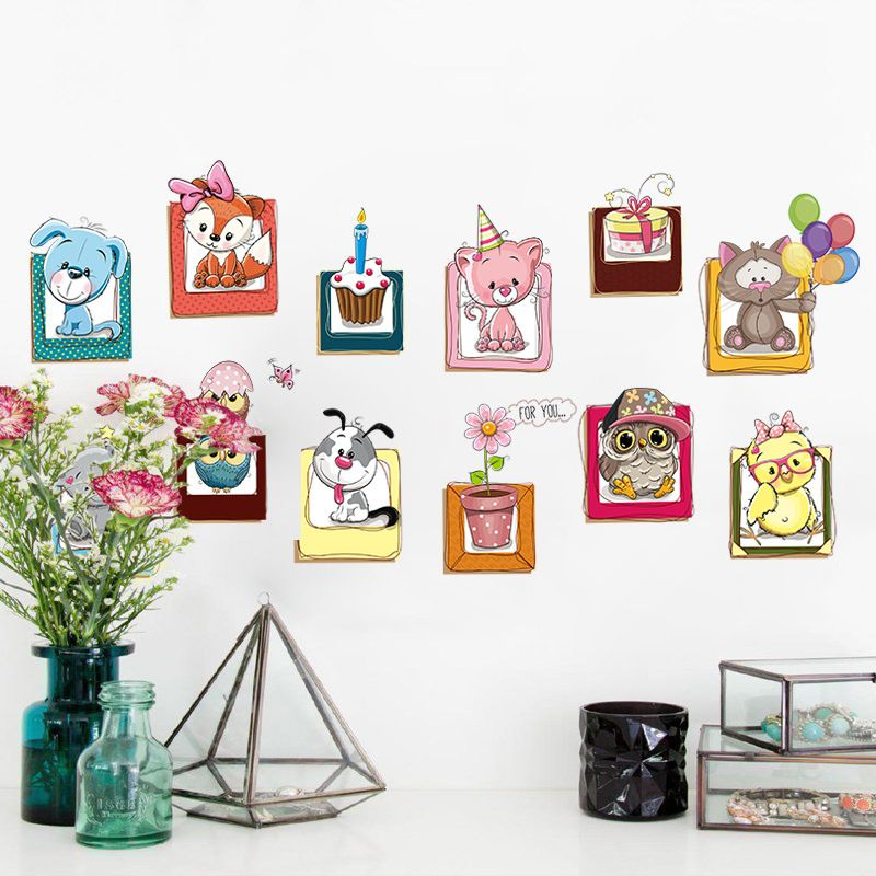 Cartoon Small Animal Wall Stickers Children Room Baby Wall Stickers ...