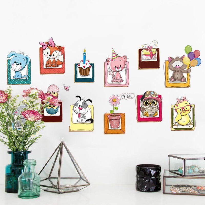 Dibujos Animados Animal Pequeño Pegatinas Niños Dormitorio Baby Wall ...