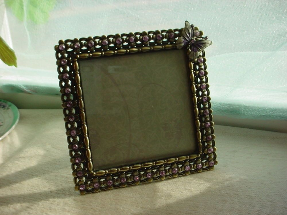 Square Photo Frame For 4 Inch Picture Metal W Rhinestones And Enamel