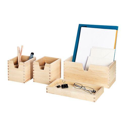 F rh ja set di 4 contenitori betulla box sets birch for Contenitori per giocattoli ikea