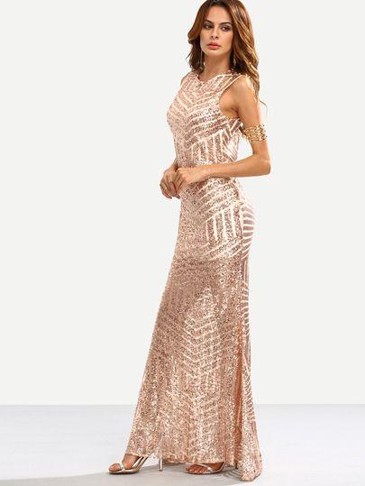 e3da122575a8 Negozio Vestito lungo a sirena smanicato a schiena nuda con paillettes  luccicanti - oro rosa on