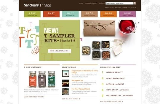 Creative Web design for tea shop