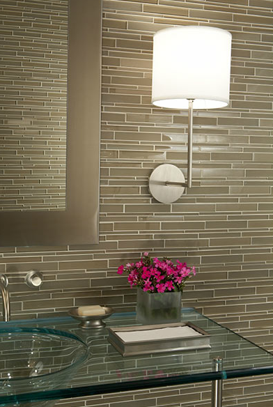 Mark Williams Design - Contemporary bathroom design with taupe linear glass  tiles .