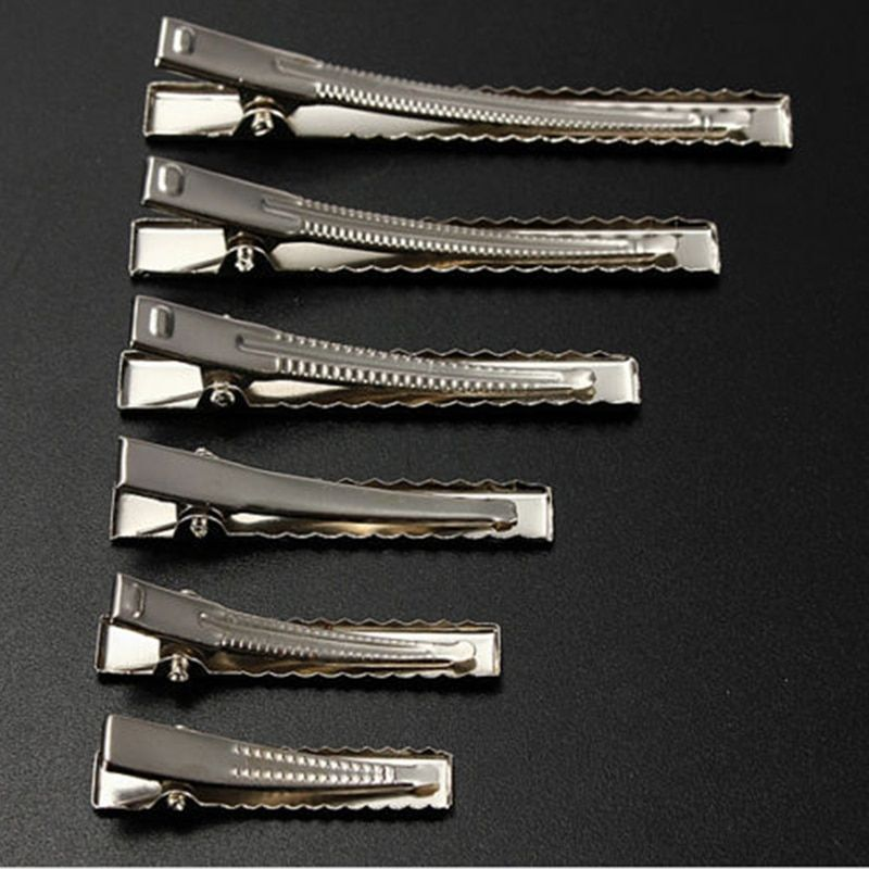 50pcs Top Silver Flat Metal Single Prong Alligator Hair Clip Barrette Bows DIY