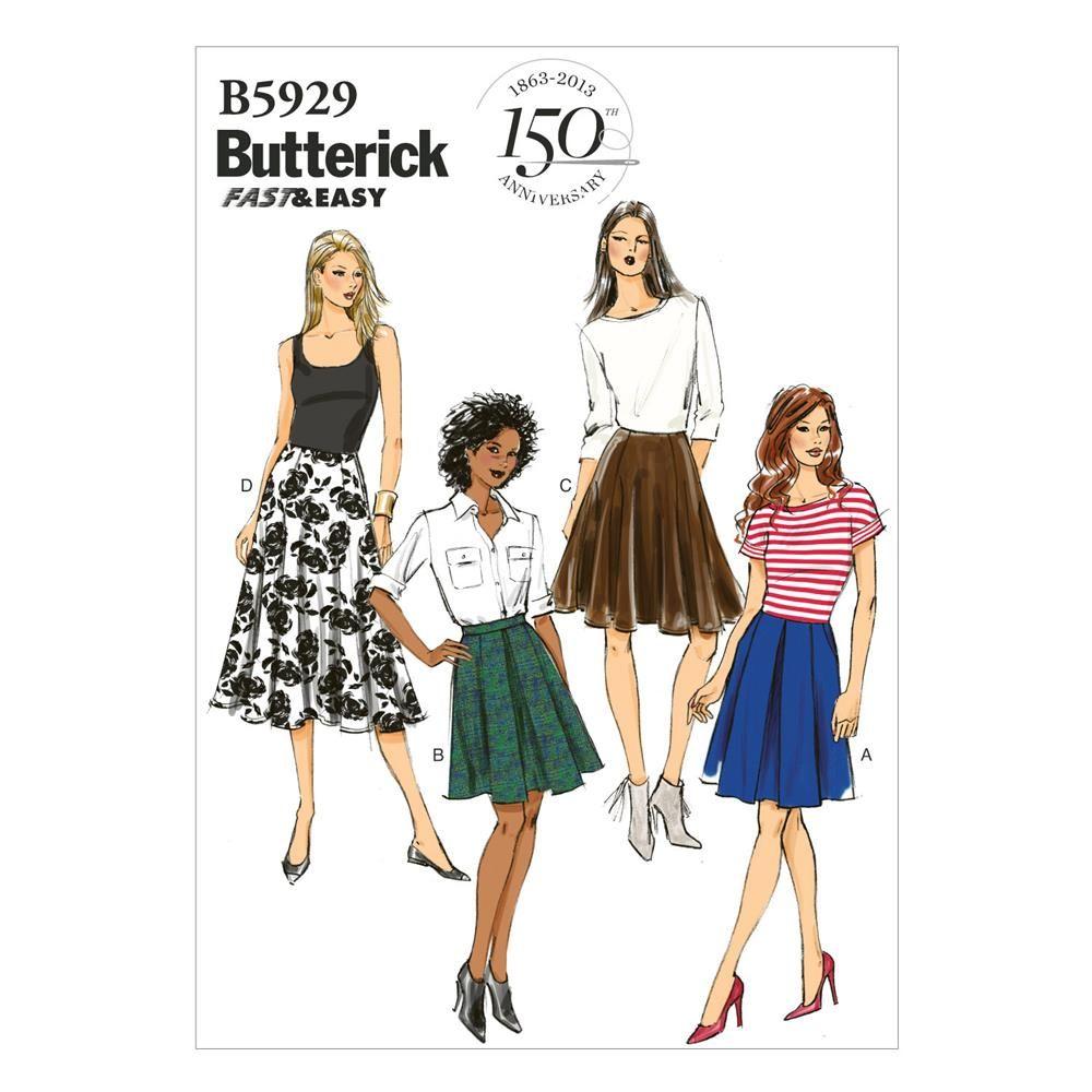 Butterick Misses\' Skirt Pattern B5929 Size A50 | SEWING | Pinterest