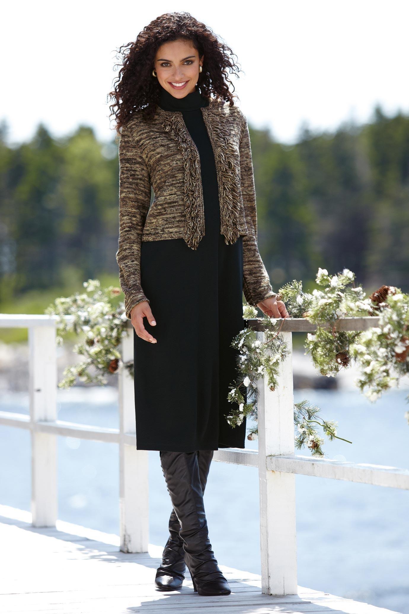 Nina Leonard Fringed Jacket & Dress Set