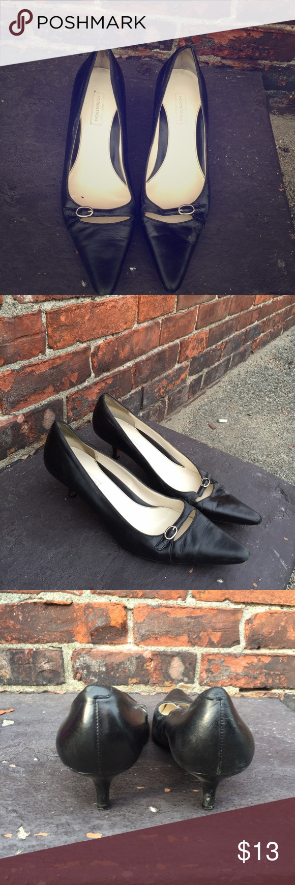 Nordstrom Black Pointed Toe Mini Heels Genuine Leather Upper, Leather Sole pointed toe heels. Comfortable and Perfect for the Office. Nordstrom Shoes Heels