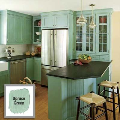 Refresh your rooms with bold color combinations black for Blue green kitchen paint