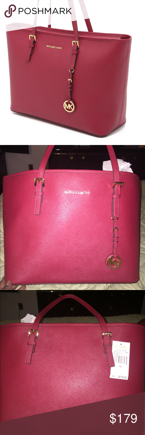 c5373a4d0a Michael Kors tote Michael Kors Jet Set tote in Cherry color. The size is  medium and it has never been used. The dust bag is not included.