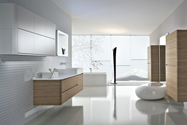 Wandgestaltung Badezimmer ~ Badmöbel set holztextur design badspiegel schöne wandgestaltung