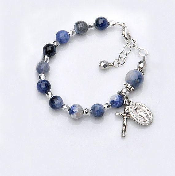 Baptism Bracelet for Baby Boy  Blue Sodalite by RosariesOfLove