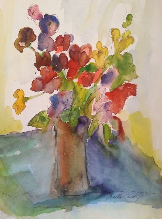 "Vase of  Flowers- Vintage from the 80'- Original watercolor painting signed by Bella Sciaky (1907-2001)9.5""X13.5"""