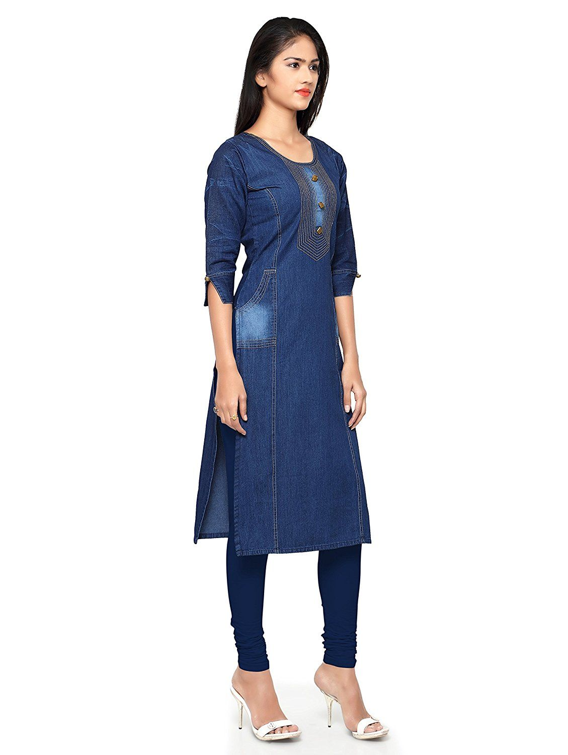 d6bf3d08c6e Kvsfab Women s Denim Kurta  KVSKR8101DENIM   Amazon.in  Clothing    Accessories