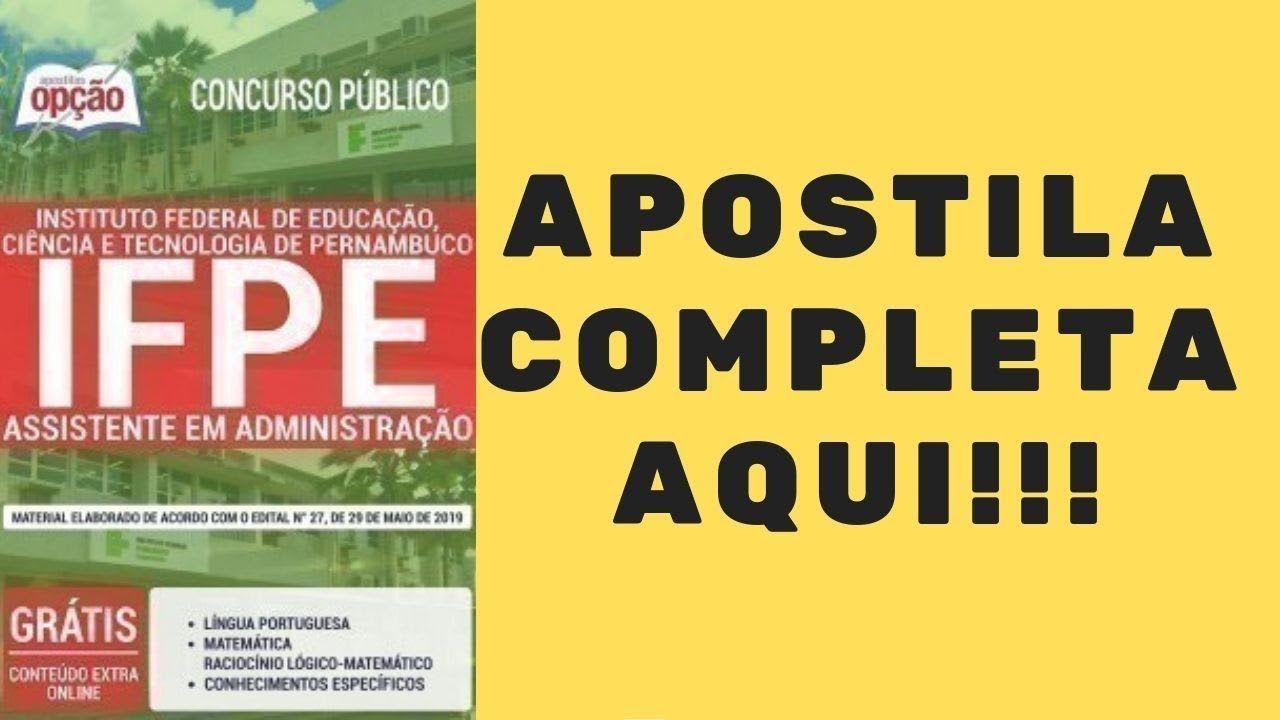 Apostila Concurso Ifpe 2019 Assistente Em Administracao