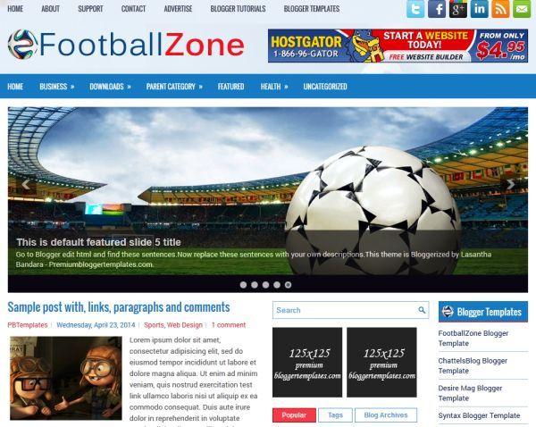 Soccer Blogger Theme Template FootballZone Soccer Blogger - Soccer website templates