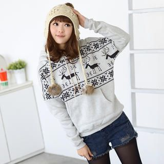 Nordic-Print Hooded Pullover from #YesStyle <3 59 Seconds YesStyle.com