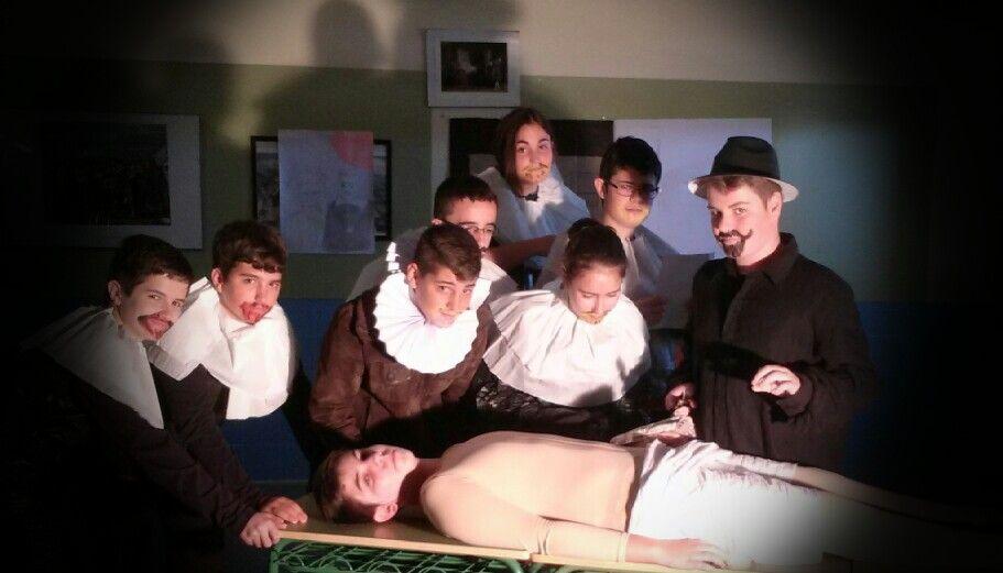 Recreación escolar de La lección de anatomía de Rembrandt ...