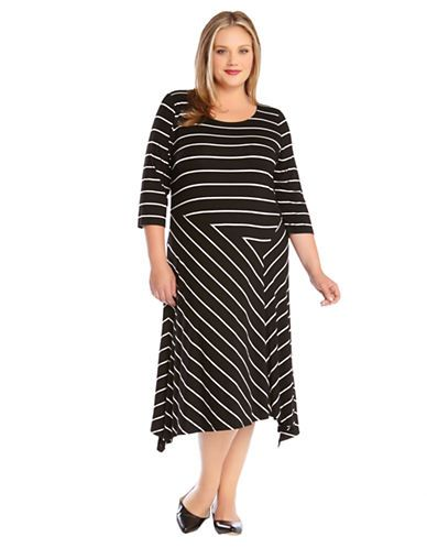 Karen Kane Plus Size Fashion Mixed Black and White Stripe ...