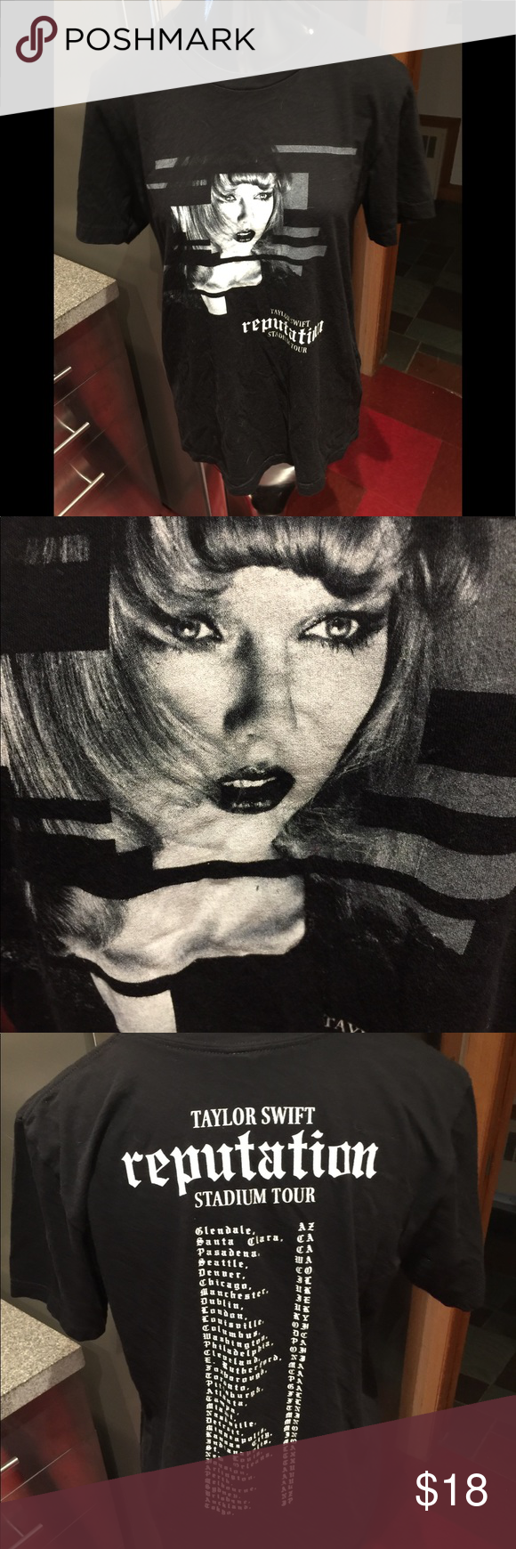 Taylor Swift Reputation TOUR BLACK T-SHIRT M Gently Used Taylor Swift concert TOUR REPUTATION T-Shirt. Size medium. Measurements: 19 inches across from armpit to armpit & 27 1/2 inches long from the shoulder. Canvas Tops Tees - Short Sleeve #countryconcertoutfit