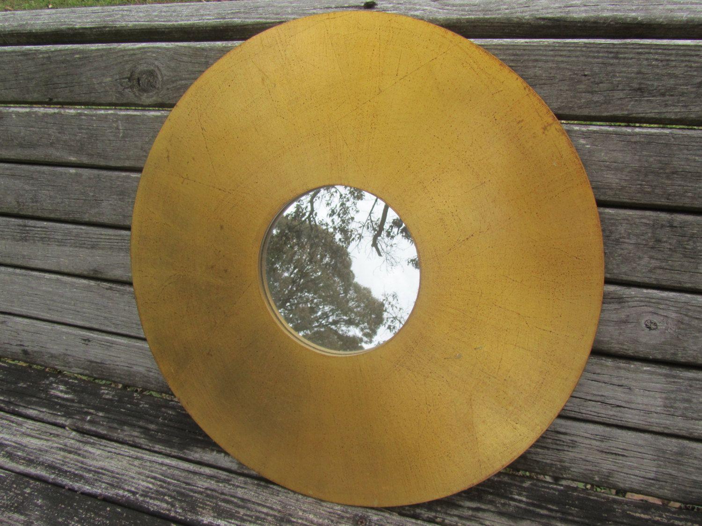 Vintage Mirror, round mirror, art deco mirror ,gold,bronze, modern ...