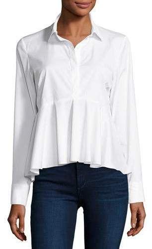 1bf8bbdc0d Peplum Solid Poplin Shirt White | Products | Shirts, Long sleeve ...