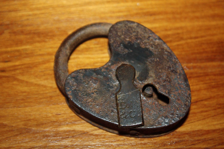Vintage Lock Rusty Heart Shape Padlock Antique