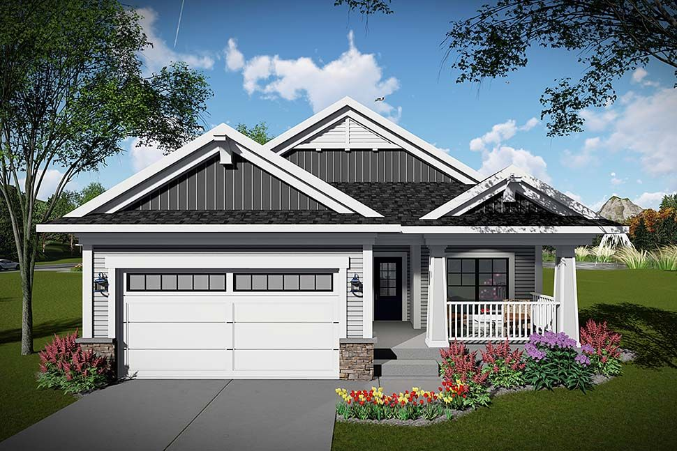 Photo of Craftsman Style House Plan Number 75468 with 2 Bed, 2 Bath, 2 Car Garage