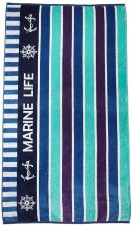 Amazon.com: Northpoint Newport Oversized Double Jacquard Plush Velour Beach Towel, 40 by 70-Inch, Marine Life: Bedding & Bath