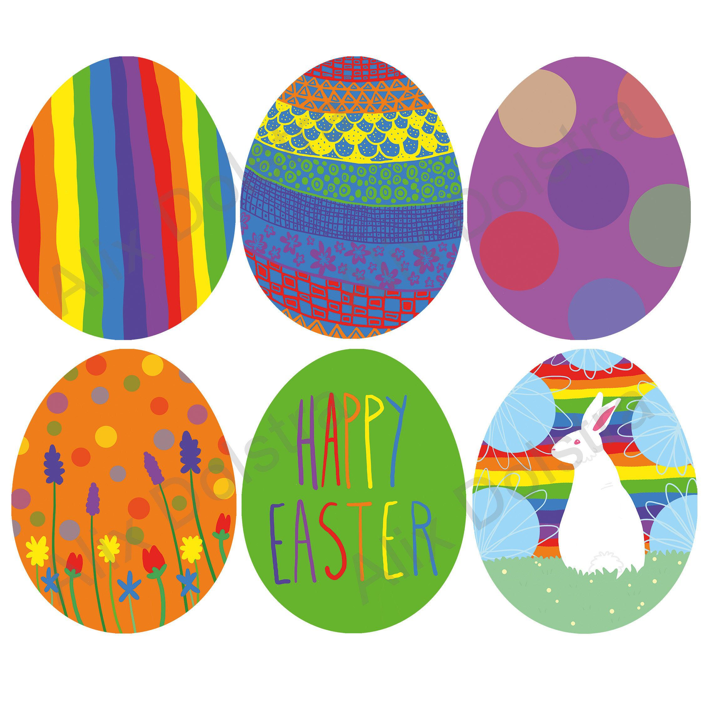 Rainbow Easter Egg Set Psd Png Instant Download Printable Clip Art In 2020 Clip Art Easter Projects How To Draw Hands