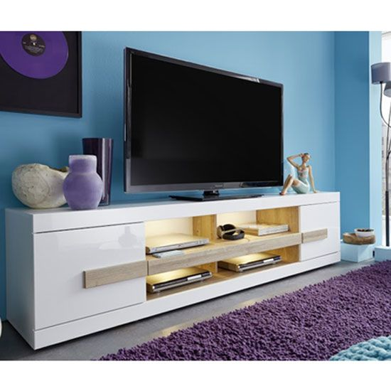 low priced 60d7b 6a45c Wexford TV Stand In White High Gloss Fronts And Oak With LED ...