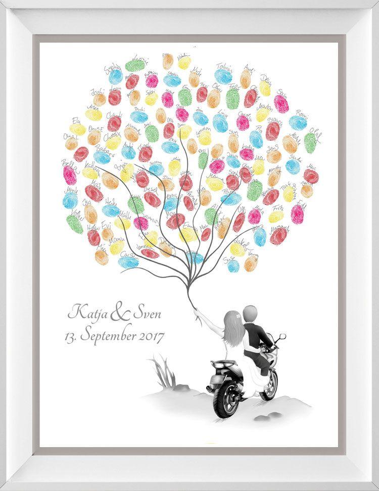 Photo of Wedding Tree Brautpaar auf Motorrad – personalisiertes Hochzeitsgeschenk