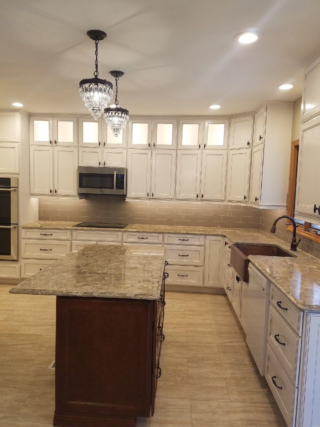 Two Tone Kitchen White Perimeter Double Stacked Cabinets And Cherry Island Interior Design Services Two Tone Kitchen Cabinetry