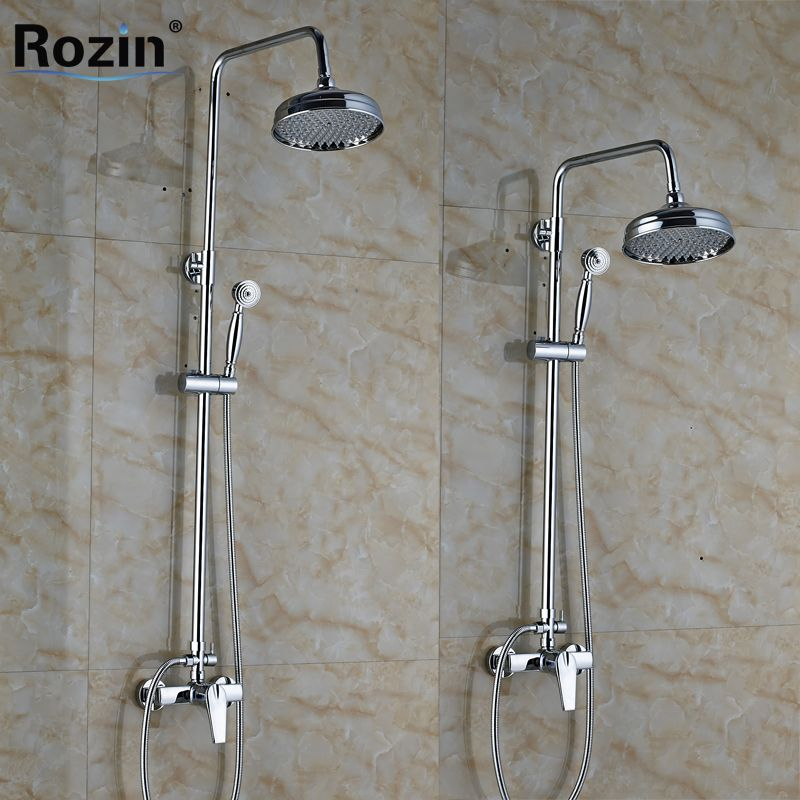 Polished Chrome Wall Mounted Shower Faucet Complete Set Single ...
