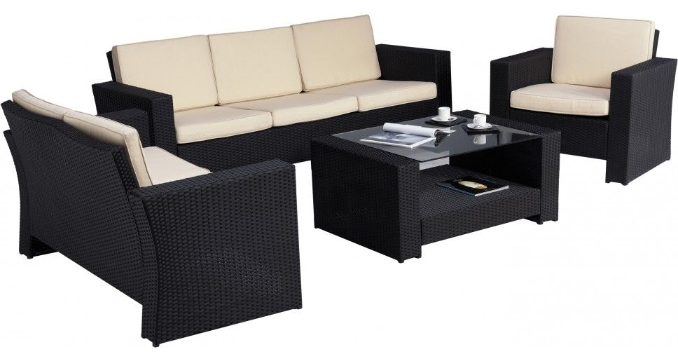 salon de jardin r sine tr ss e 6 personnes noir et beige. Black Bedroom Furniture Sets. Home Design Ideas