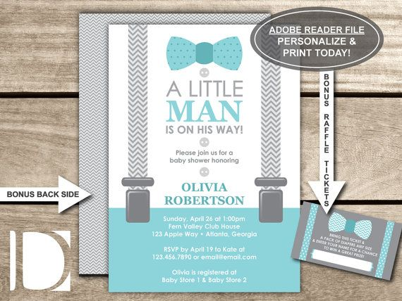 Little Man Baby Shower Invitation Bow Tie By Dereiesign