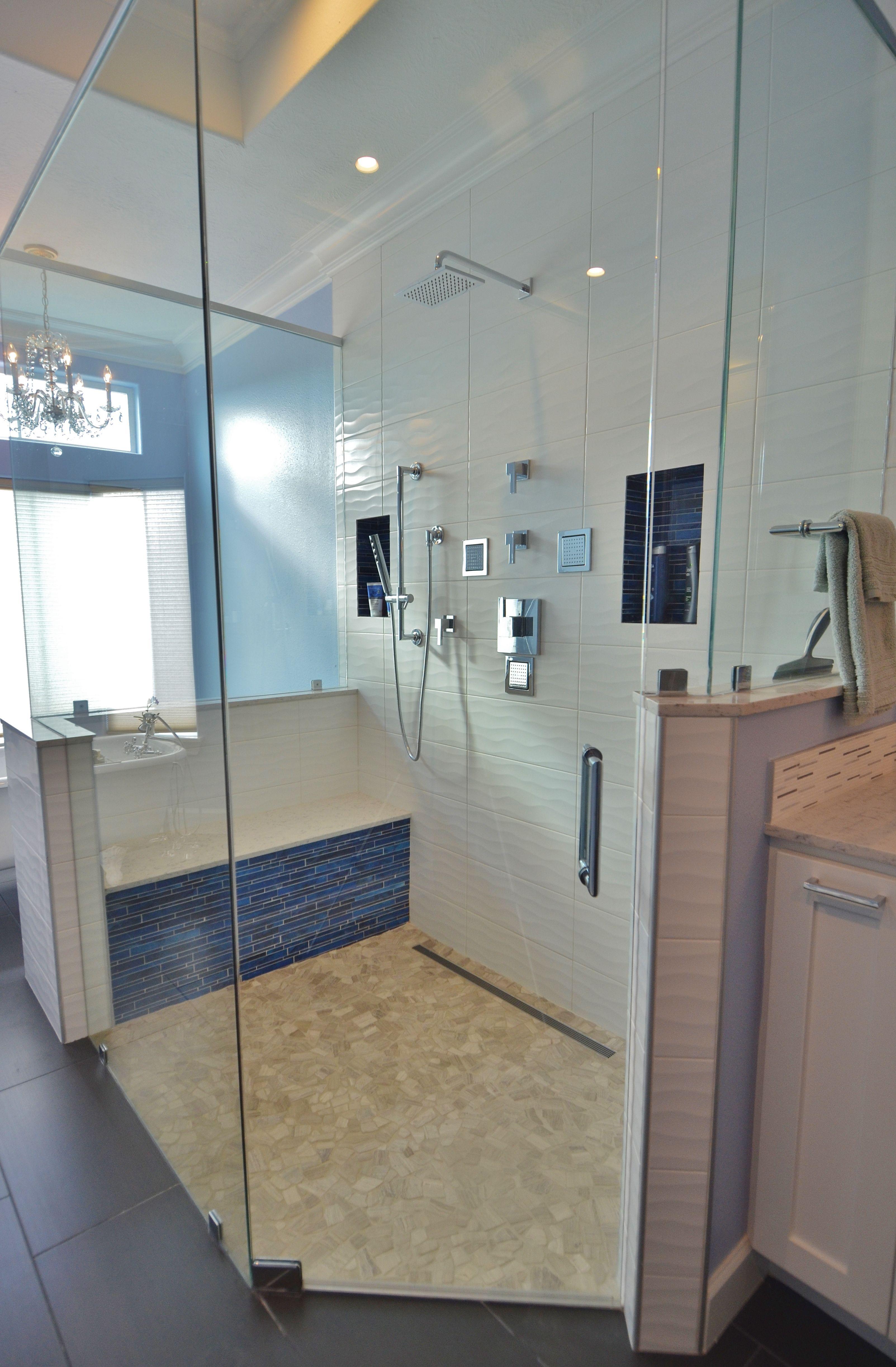 high end glass wall shower, rain shower head, wave tile, linear ...
