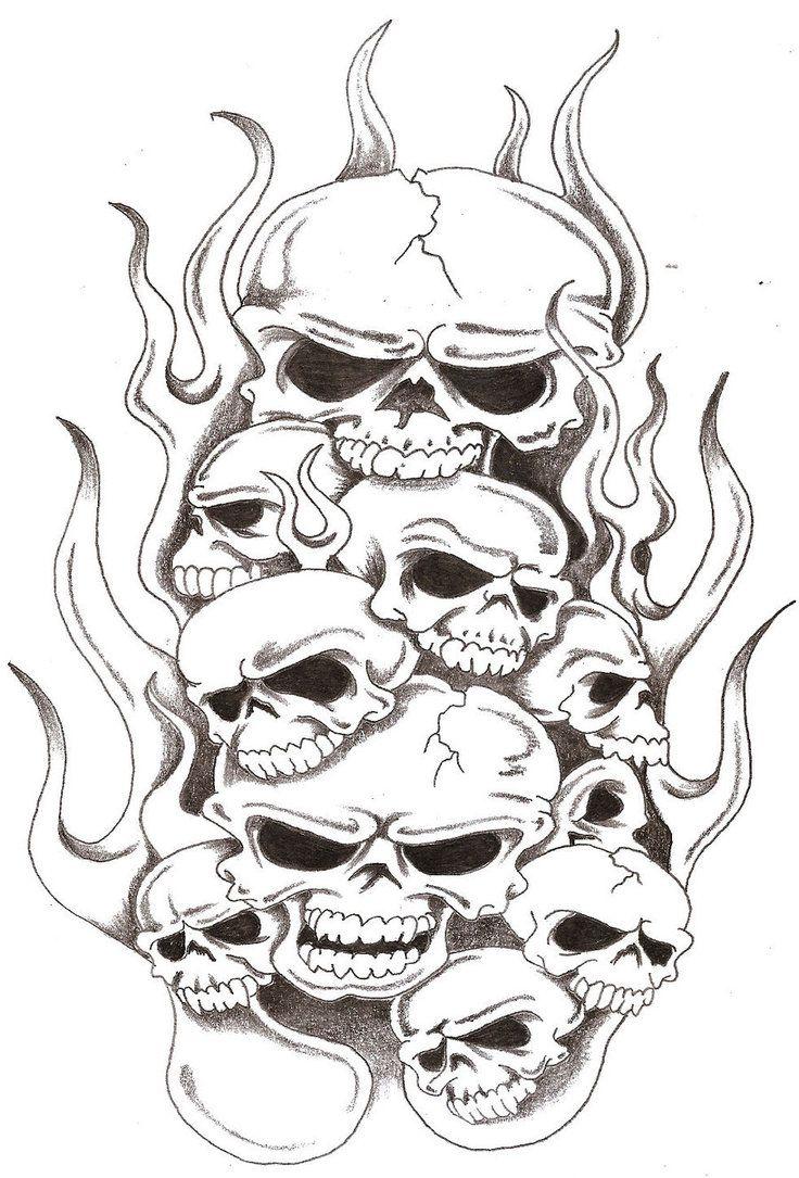 Skulls And Flames 2 By Thelob On Deviantart Skull Stencil Skulls Drawing Skull Artwork