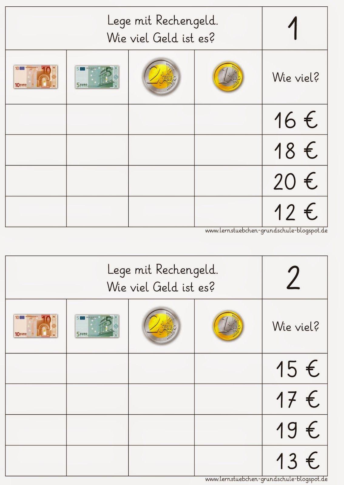 Lernstübchen: MA 1-4 Geld | Mathematik | Pinterest | Mathe, Schule ...