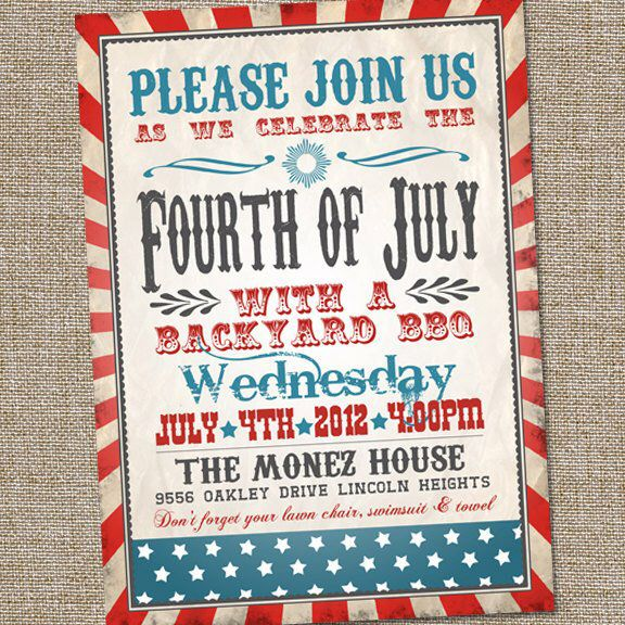 Fourth of July Invitation, Vintage Fourth of July ...