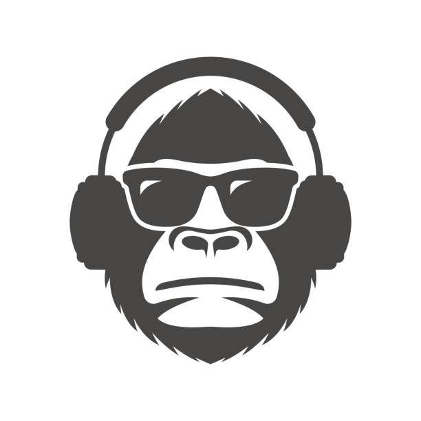 Monkey In Sunglasses And Headphones Mascot Vector Art Illustration