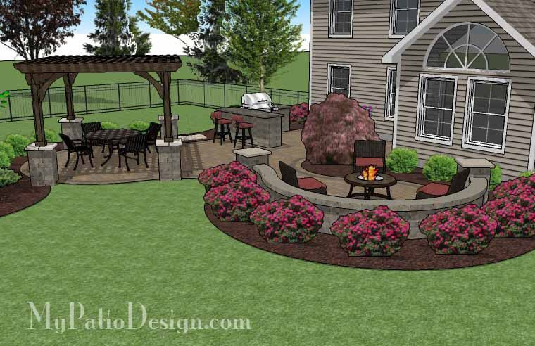 large paver patio design with pergola and grill station + bar ... - My Patio Design