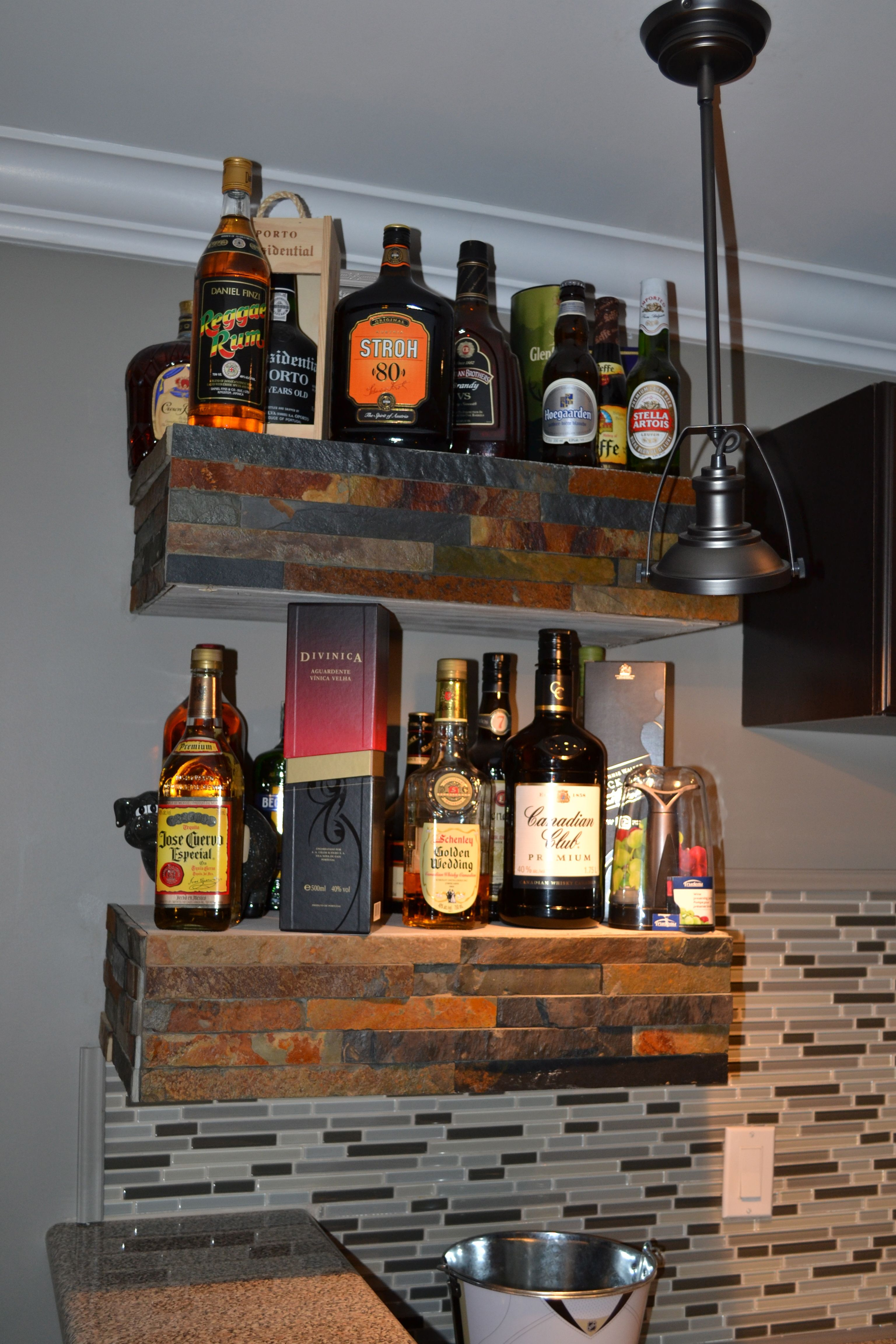 floating bar shelves faced with stone | Our 1st house ...